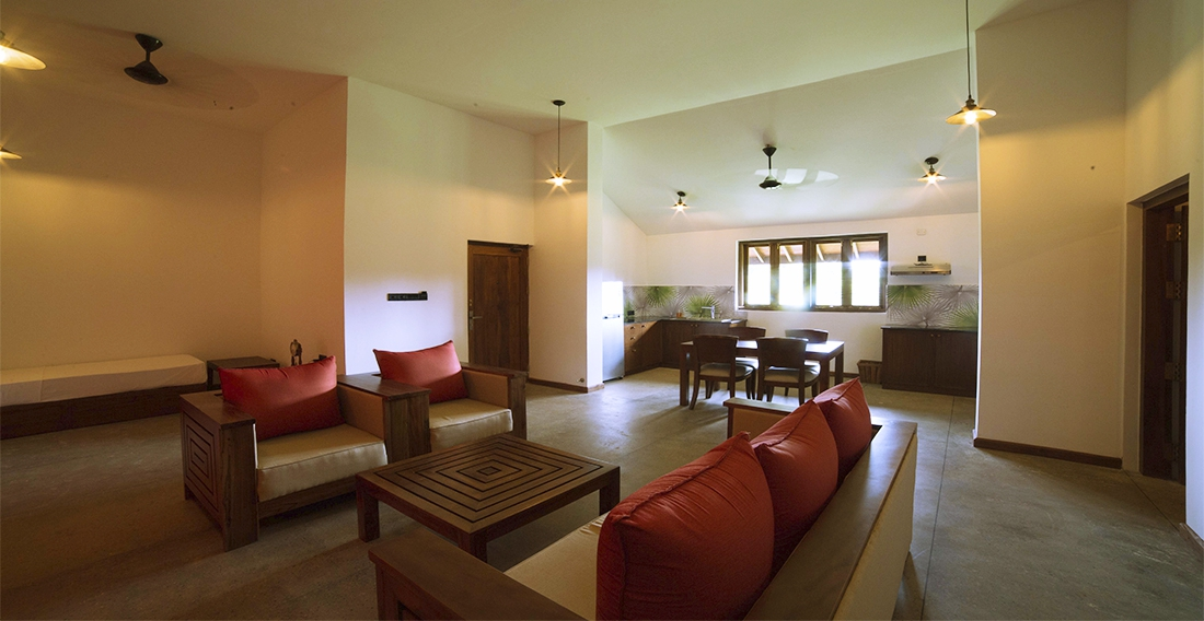 Living Area of the Deluxe Suite Pasumai at Thinnai Organic